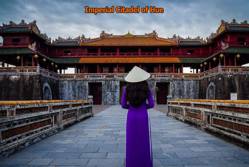 Hue Citadel with lady in long dress