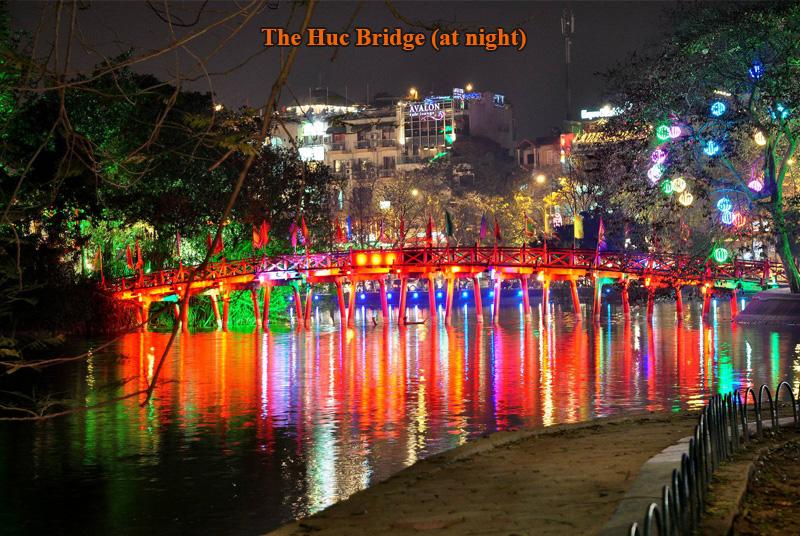The Huc bridge (at night) in Hanoi